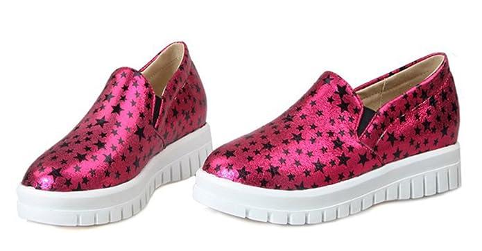 Aisun Damen Metallic Sterne Profilsohle Plateau Slipper Sneaker Pink 42 EU guSNFo
