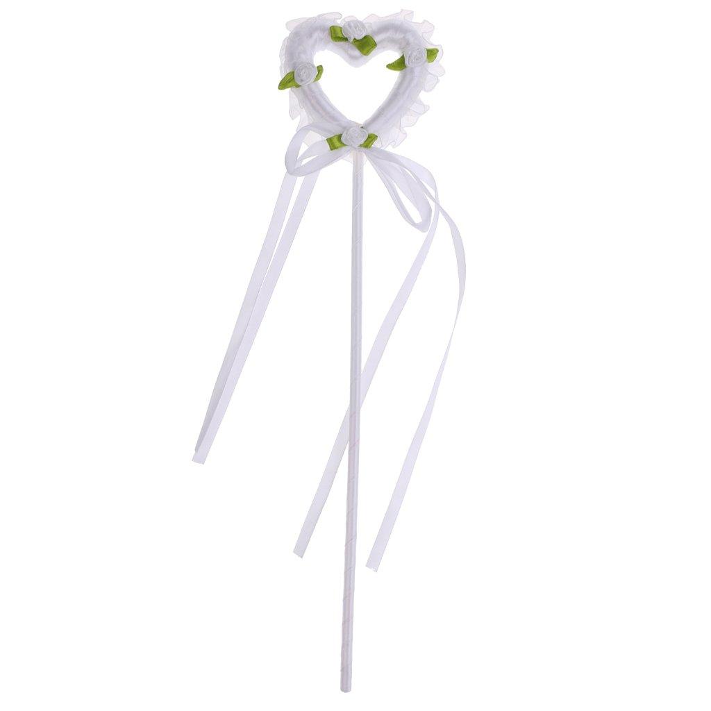 Sharplace Baguette Princesse Coeur Ruban Bâtonnet de Fée Accessoire Costume Déguisement pour Enfant Fille - Blanc
