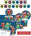 Robot Party Supplies and Decorations - Plates Cups Napkins for 16 People - Includes Banner, Tablecloth and Centerpiece - Perfect Robot Birthday Party Decorations!