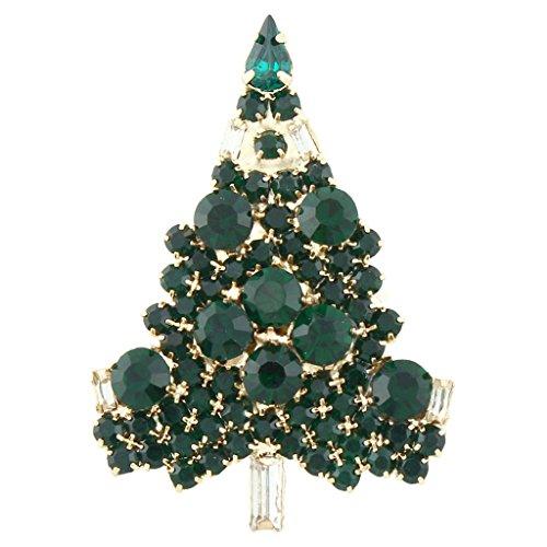 Crystal Tree Brooch - EVER FAITH Art Deco Wishing Tree Brooch Green Austrian Crystal Gold-Tone