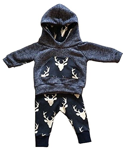 Toddler Infant Baby Boys Deer Long Sleeve Hoodie Tops Sweatsuit Pants Outfit Set (Toddler Boy Christmas Outfits)