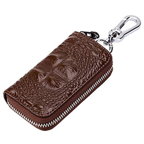 Black Aileder Car Key Case Genuine Leather Car Smart Key Chain Keychain Holder Metal Hook and Keyring Zipper Bag for Remote Key Fob