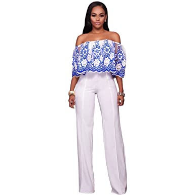 90dd95e91d9e Amazon.com  Women Sexy Off Shoulder Floral Lace Ruffle Sleeve Wide Leg Long  Pants Jumpsuit Romper Clubwear Blue White