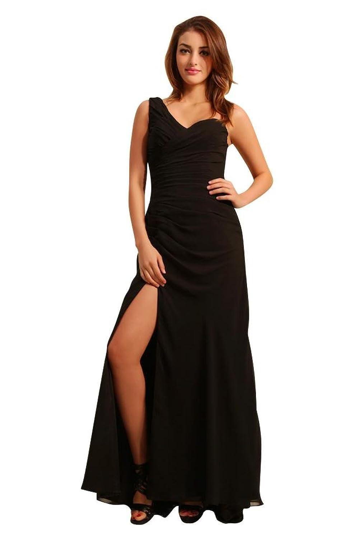 GEORGE BRIDE Gorgeous Formal One Shoulder Long Black Evening Dress