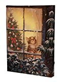 "Kitten Light Up Canvas Wall Hanging by Clever Creations | Looking out a Window | Bright Color Changing LEDs Throughout | Attached Hanging Mount | Measures 12"" x 16"" 