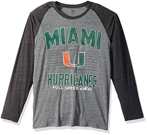 J America NCAA Miami Hurricanes Men's AAA Tee Baseball Tee, Medium, Graphite -