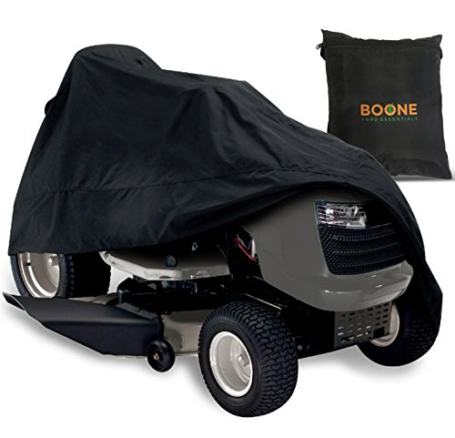 Boone Yard Essentials Riding Lawn Mower Cover - Heavy Duty, Durable, Water Resistant Cover for Your Ride-On Garden Tractor - Fits Up to 54' Deck - Black