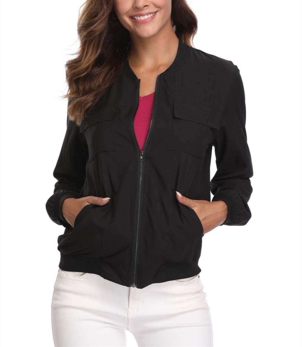 MISS MOLY Bomber Jacket for Women Lightweight Zip-up Long Sleeve Biker Cycling Outfit with Pockets