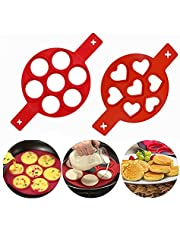 Pancake Mold Maker - Nonstick Silicone Egg Maker Ring Egg Cooker Muffin Pancake Mold for Perfect Breakfast Cooking - 7 Cavity Heart & Round Baking Molds - 2 Pack (Heart)