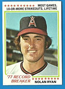 1978 Topps Record Breaker NOLAN RYAN Baseball Card #6 - Angels