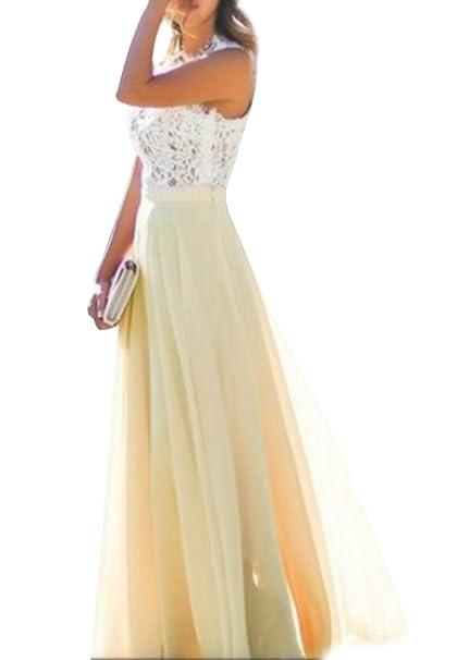OMZIN Vestido de Encaje de Mujer Vestido de Gasa Floral Vestido Largo de Fiesta para Mujer