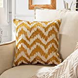 TINA'S HOME Embroidery Linen Chevron Decorative Throw Pillows | Watercolor Accent Pillows for Living Room Couch Sofa Bed Decor (18 x 18 inches, Mustard Gold)