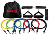 Alema Fitness Best Resistance Bands 12 pc Set: 5 bands, 2 handles, 1 Door Anchor, 2 Ankle Straps,1 Exercise booklet, 1 Carrying Bag. For workout, Physical Therapy, Home, Yoga, Pilates, Martial Arts