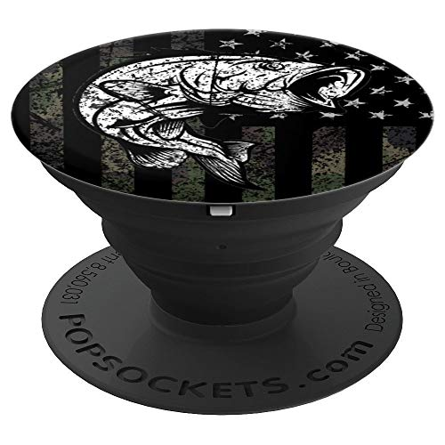 Bass Fishing Gift Black Camouflage USA Flag - PopSockets Grip and Stand for Phones and Tablets