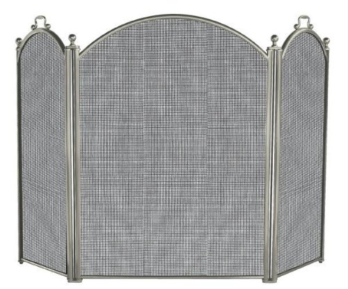 UniFlame 3 Panel Satin Pewter Screen (Large Diameter Fireplace Screen)