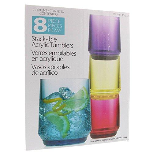- Set 8 Piece Stackable Acrylic Tumblers BPA Free - Indoor/Outdoor