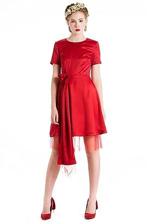 Yigelila High Quality Red Satin Short Sleeve Bandage Dresses For