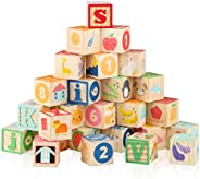 "Joqutoys Large Wooden ABC Biulding Block Set, 1.65"" Alphabet and Number Stacking Blocks, 26 PCS Wooden Buildin"