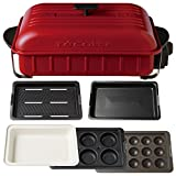 récolte HOME BBQ Ceramics Team Deep Hot Pot + Variety Plate +Takoyaki Plate 4Piece Set RBQ-1 (Red)【Japan Domestic genuine products】