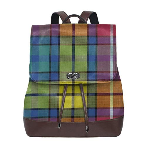Women Backpack Purse Buchanan Ancient Tartan Waterproof PU Leather Anti-theft Schoolbag Lightweight Rucksack