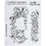 Stampers Anonymous Tim Holtz Cling Rubber Stamp Set, Fabulous Flourishes