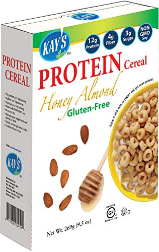 Kay's Naturals Protein Breakfast Cereal, Honey Almond, Gluten-Free, Low Carbs, Low Fat, Diabetes Friendly All Natural Flavorings, 9.5 Ounce (Pack of 6)