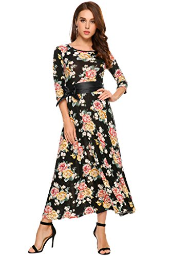 Zeagoo Women 3/4 Sleeve Print Crew Neck Elegant Party Maxi Long Dress with (Floral Swirl Print Dress)