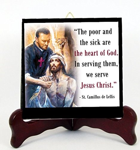 Gifts by Lulee, LLC Camillus de Lellis Patron of The Sick Porcelain Tile Plaque Ready for Hanging or Displaying on Easel