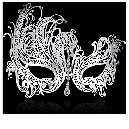 FaceWood Masquerade Mask for Women Ultralight Gorgeous Gold & Silver Shiny Metal Rhinestone Mask. (Queen Silver) ()