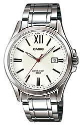 Casio #MTP-E103D-7AV Men's Standard Analog Stainless Steel 50M White Dial Watch