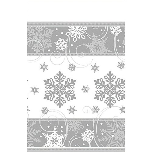 Sparkling Snowflake Paper Table Cover Disposable Tableware Decoration