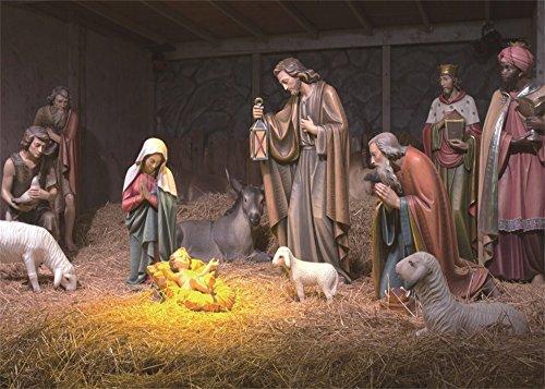 Leowefowa 7X5FT Birth of Jesus Backdrop Shepherd Christmas White Sheep Straw Cow Culture Historic Wallpaper Vinyl Photography Background Kids Adults Photo Studio Props (Studio Figurine)