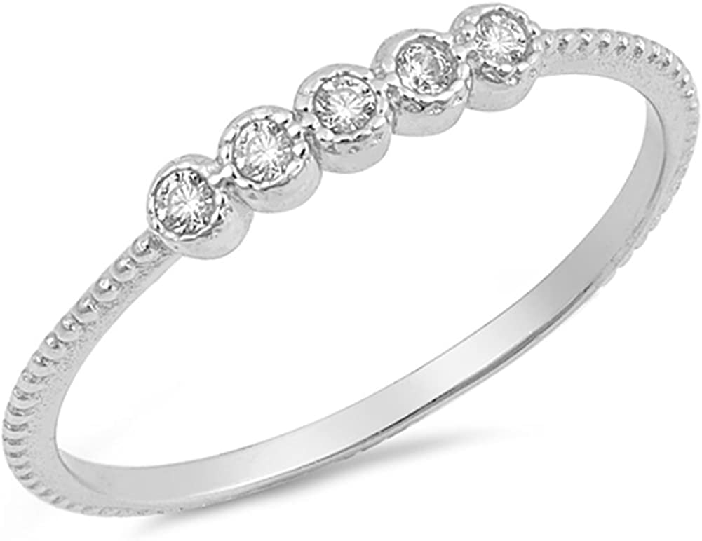 Women/'s Wedding Clear CZ Wholesale Ring New .925 Sterling Silver Band Sizes 5-10