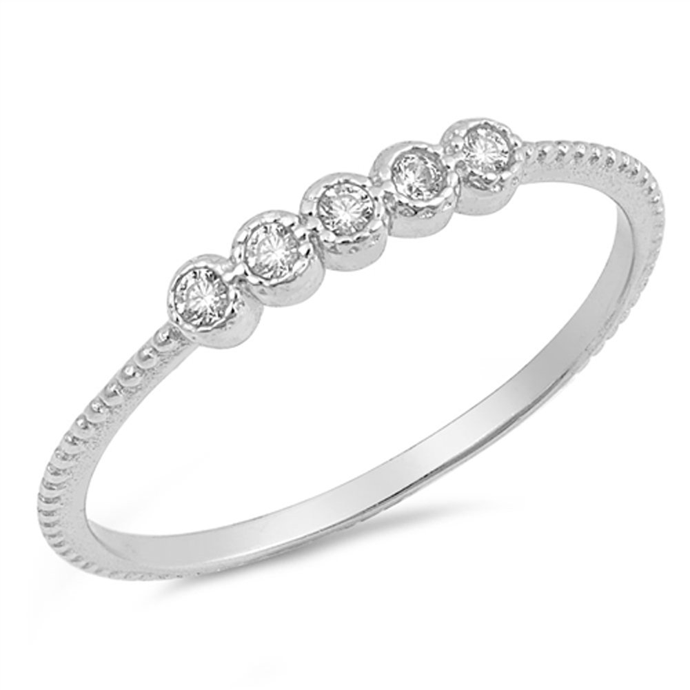 Round Clear CZ Wholesale Thin Stackable Ring 925 Sterling Silver Band Size 8