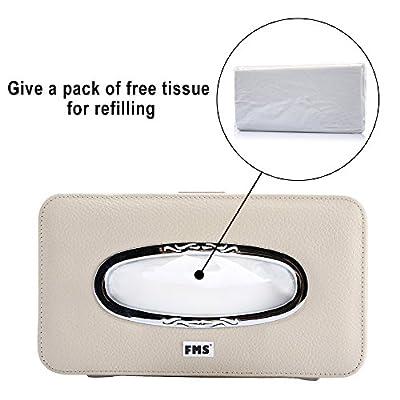 FMS Car Leather Tissue Case, Tissue Box Holder for Sun Visor, Seat Back Tissue Dispenser for Car with Tissue Refill (Beige): Automotive