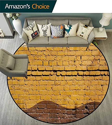 (RUGSMAT Tan and Brown Machine Washable Round Bath Mat,Urban Architecture Weathered Old Brick Wall Different Colored Waves Non-Slip No-Shedding Bedroom Soft Floor Mat,Diameter-59 Inch)