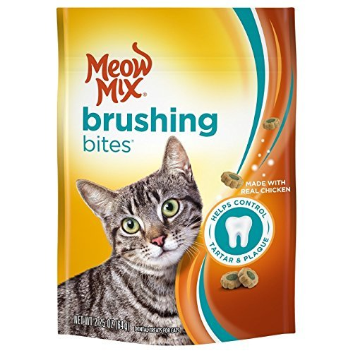 (Meow Mix Brushing Bites Dental Cat Treats, Chicken Flavor, 2.25oz (Pack of)
