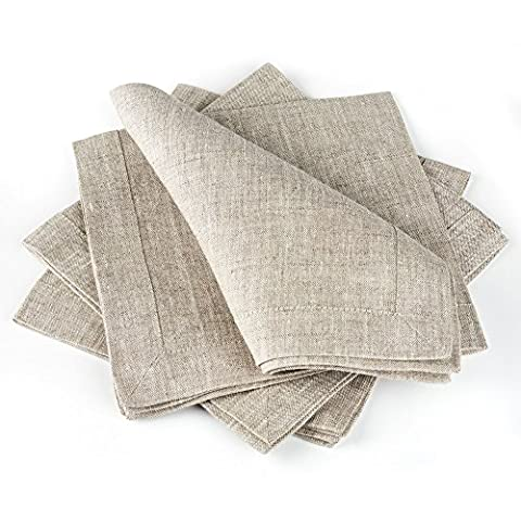 Linen Cloth Table Napkins — Soft and Durable — Set of 4, 16