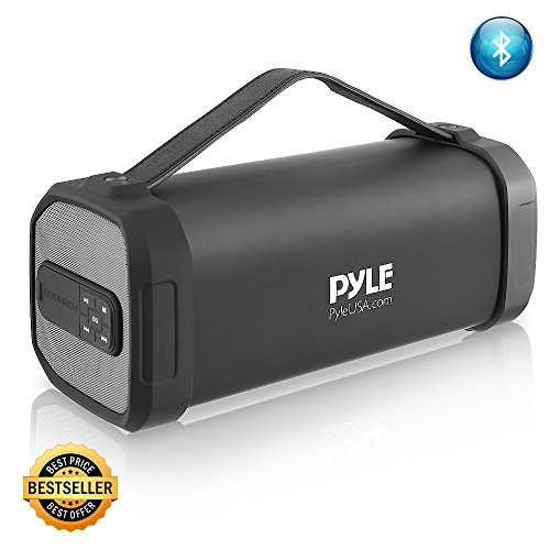 Pyle Wireless Portable Bluetooth Speaker – 150 Watt Power Rugged Compact Audio Sound Box Stereo System with Rechargeable Battery, 3.5mm AUX Input Jack, FM Radio, MP3, Micro SD and USB Reader – PBMSQG9