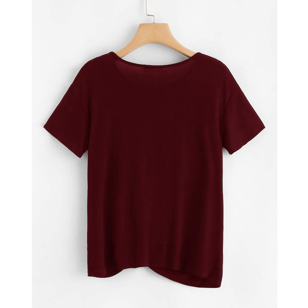 Psunrise Fashion Women Beading Short Sleeve O-Neck Pearl Embellished Tee Tie Knitted T-Shirt Tops