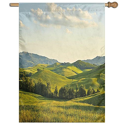 HUANGLING Tuscany Hills Italy Meadow Greenery Pastoral Rural Scenery Farmland Scenic Home Flag Garden Flag Demonstrations Flag Family Party Flag Match Flag 27''x37'' by HUANGLING