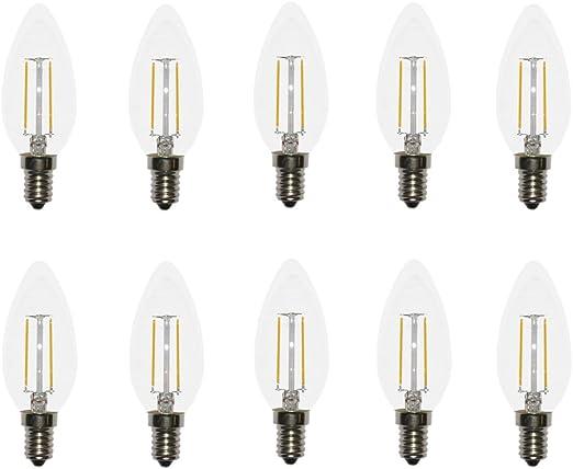 5 x LED Filament Kerze Windstoß 2W = 25W klar E14 220lm Glühlampe Glühbirne warm