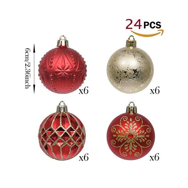 Valery Madelyn Palle di Natale 24 Pezzi 6cm Palline di Natale, Ornamenti di Palla di Natale Infrangibili di Lusso Rosso e Oro per la Decorazione Dell'Albero di Natale 3 spesavip