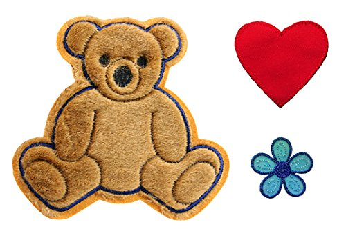 Altotux Brown Teddy Bear Red Heart Blue Flower Kaylee Firefly Costume Embroidered Sew On Patches Applique DIY Cosplay Craft Supplies (Firefly Kaylee Patches)