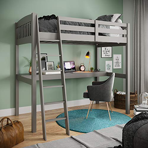 Yes4wood Everest High Loft Wood Bed with Desk, Full Size, Grey, 100% Pine