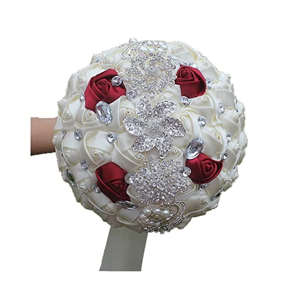 DOTKV Wedding Bouquets for Bride, Wedding Bouquets for Bridesmaids, Artificial Rose Posy with Satin Jeweled Throw Bouquet, Bridesmaid Holding Flowers(Ivory+Red)