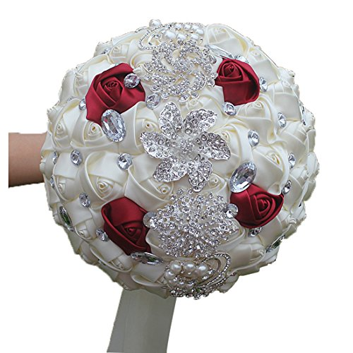 DOTKV Wedding Bouquets, Wedding Bouquets for Brides, Wedding Bouquets for Bridesmaids, Artifical Rose Posy with Satin Jeweled Throw Bouquet, Bridesmaid Holding Flowers (Red + White)