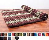 Leewadee Roll Up Thai Mattress XXL, 79x59x2 inches, Kapok Fabric, Brown Red, Premium Double Stitched