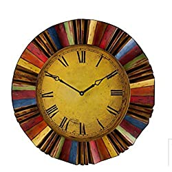 30 Artistic Vintage Style Multi Color Metal and Wooden Clock Wall Hanging Decor Home Accent Rustic Art Plaque Antiqued Finish Design Decoration