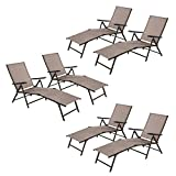 Cloud Mountain Adjustable Chaise Lounge Chair Recliner Outdoor Folding Lounge Chair Chaise Lounge Chair Recliner Patio Pool Sun Loungers Chair, 6 Packs
